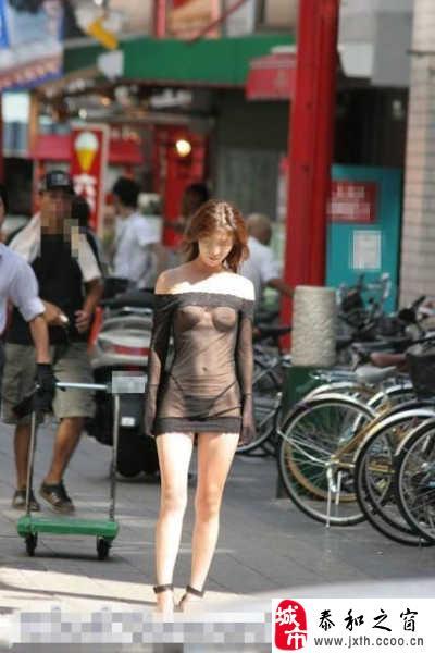 分享街头最雷的透视装女
