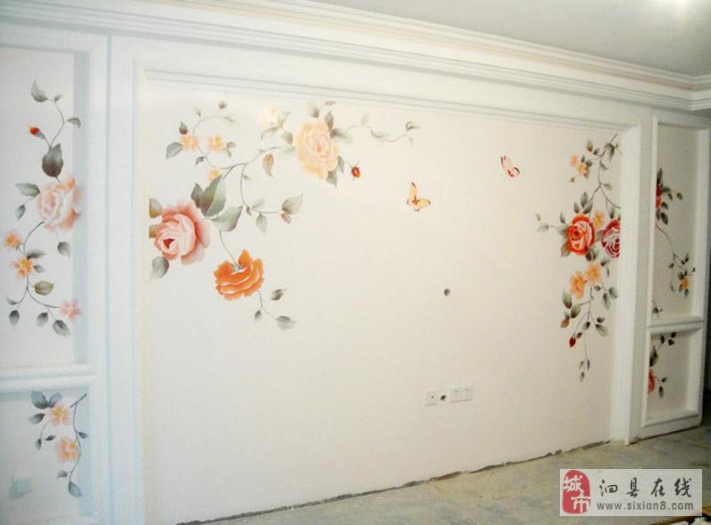 墙体彩绘 电视背景墙推出优惠图片