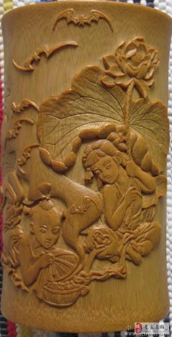 精细青蛙蝙蝠木雕图片