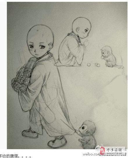 唐僧简笔画步骤图