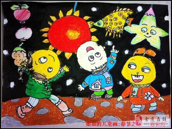春节儿童画:吃年夜饭
