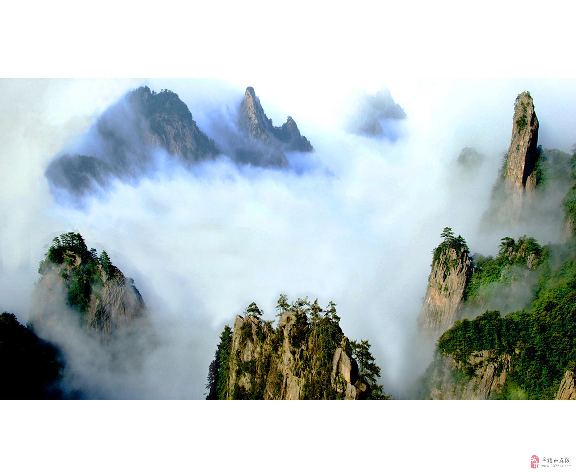 尧山风景名胜区位于平顶山鲁山县西部高清图片