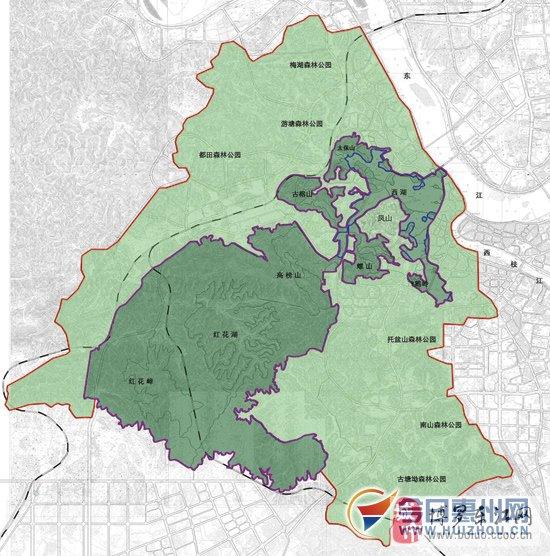 惠州西湖风景名胜区总体规划图.  图片由市西湖风景区管理局提供