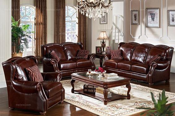 [凯撒豪庭]美式古典进口全真皮沙发套装