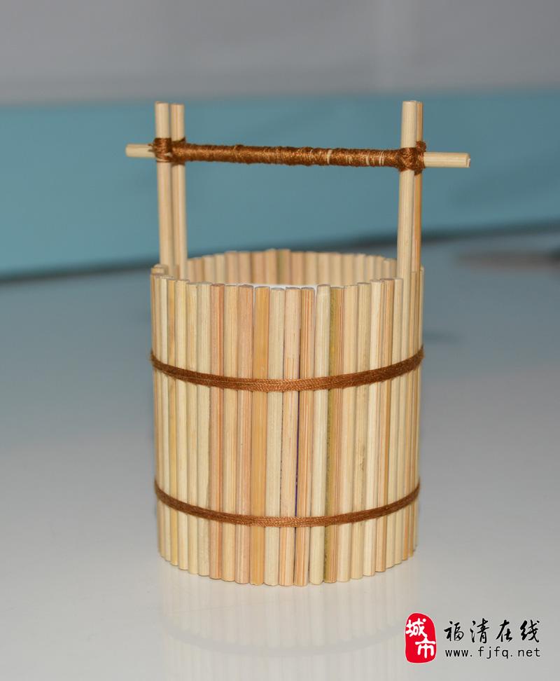 手工 竹签水桶