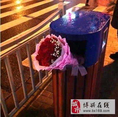 垃圾桶边怒放的玫瑰
