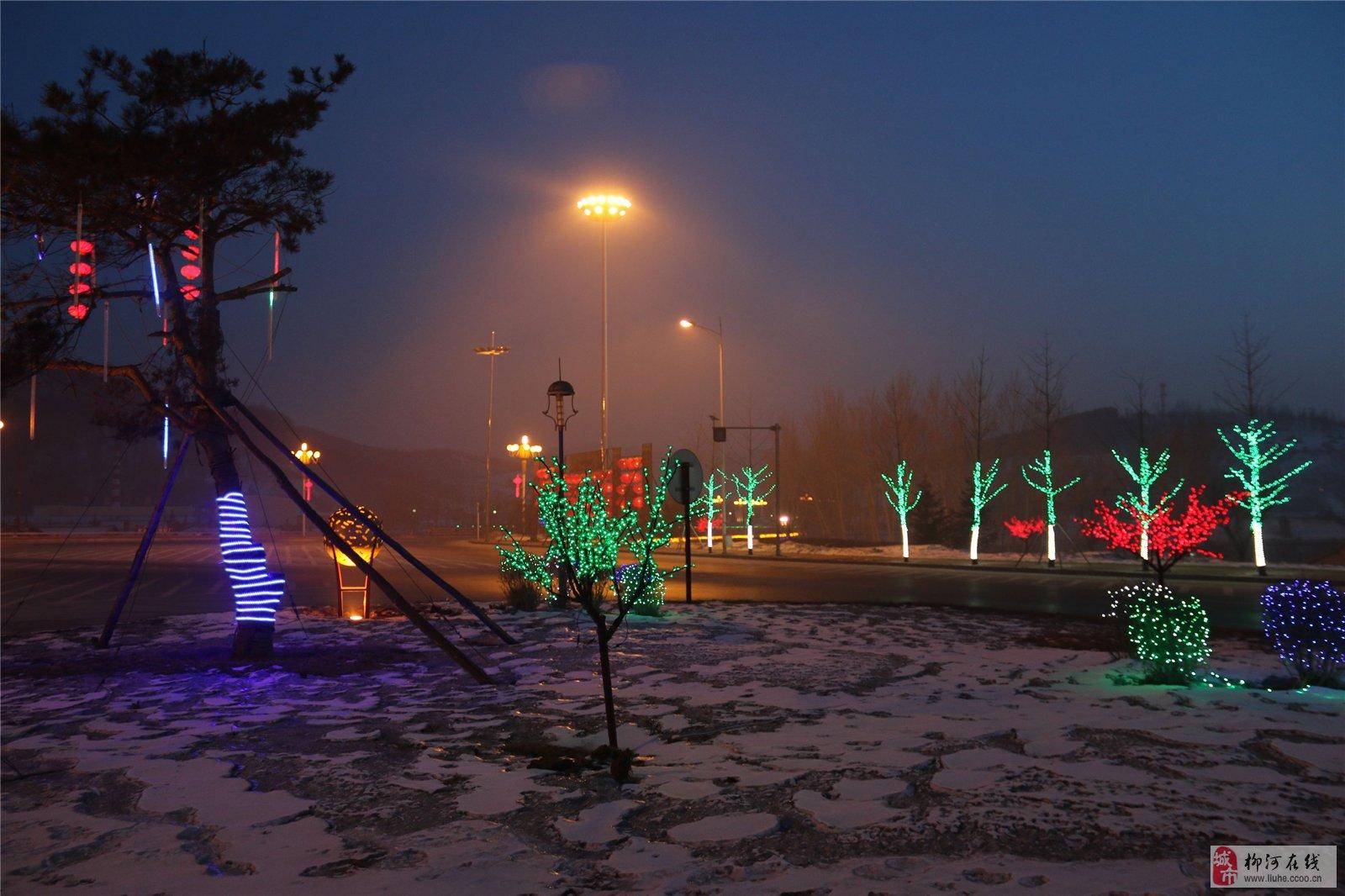夜景柳河图片