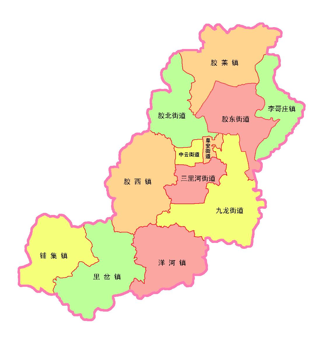 胶州市行政区划图