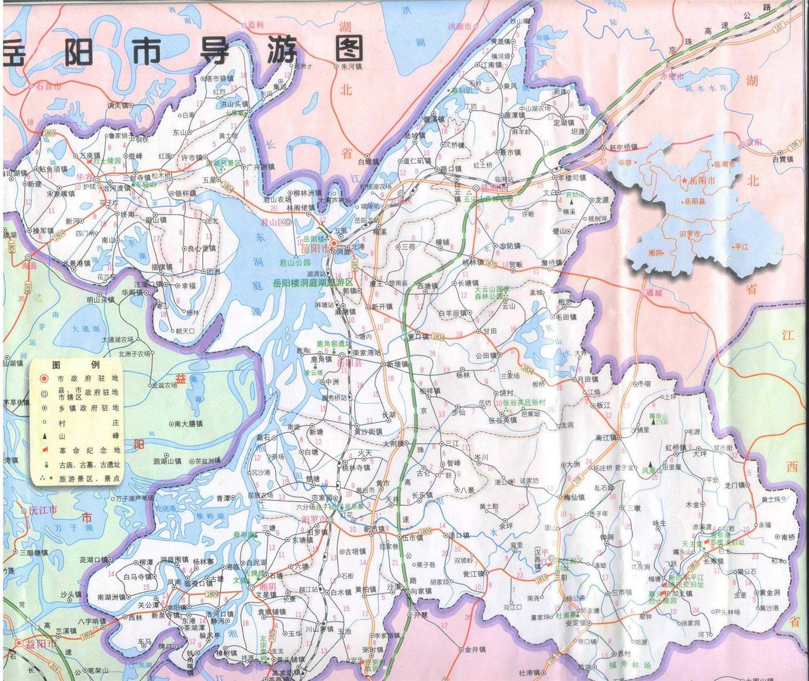 岳阳地区地图