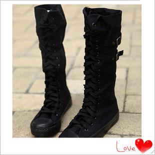 韩版高筒帆布靴皮带扣骑士靴