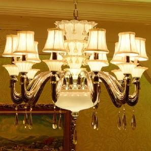 【飞雕】欧式智能情景灯客厅led灯饰水晶10头吊灯fd2
