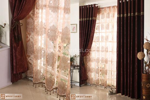 深咖色窗帘素材贴图