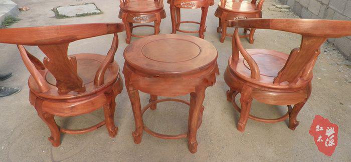 【宝鼎红木】缅甸花梨木原色生磨素磨三件套牛角椅