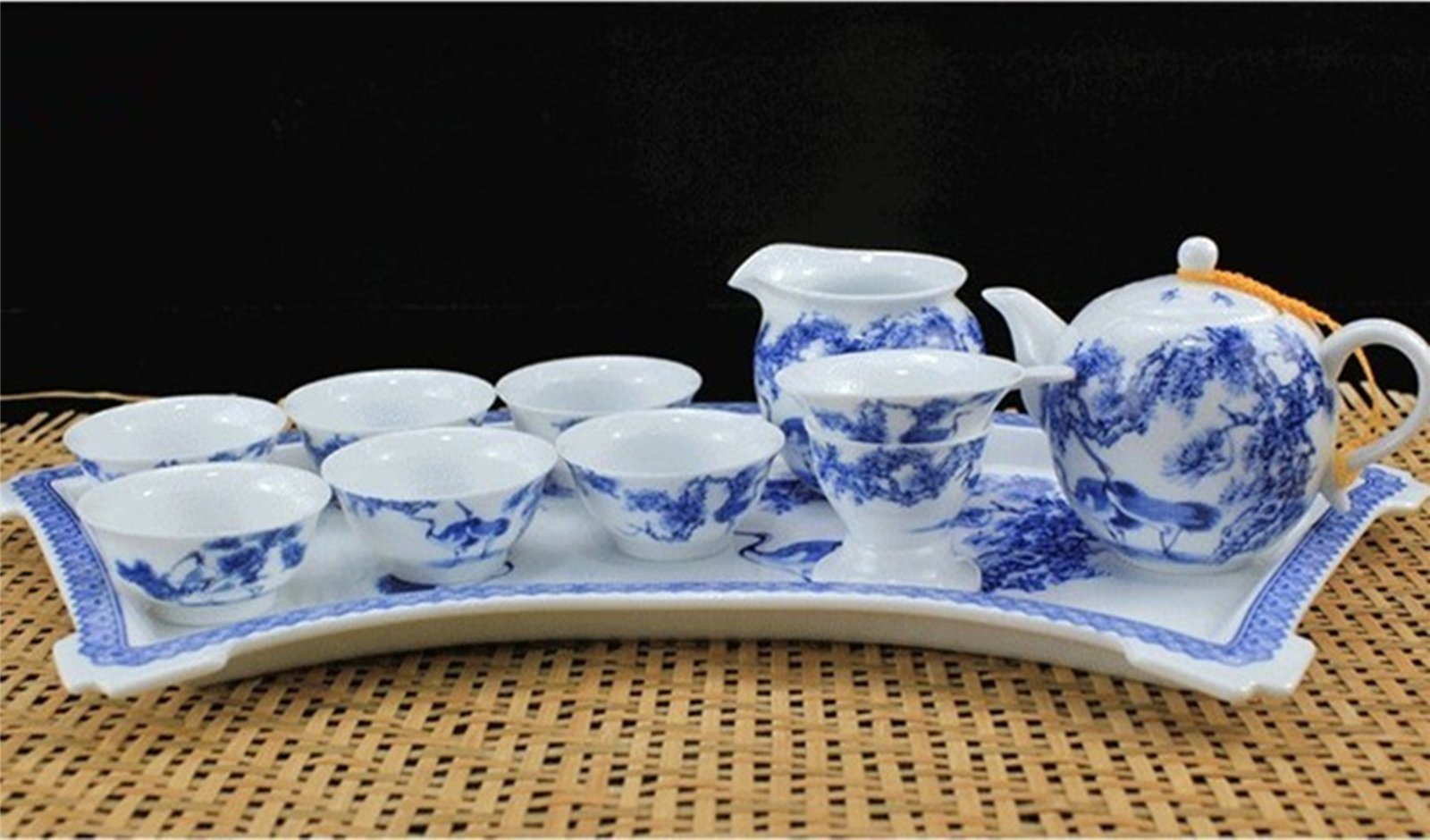 陶瓷扇形盘茶具套装