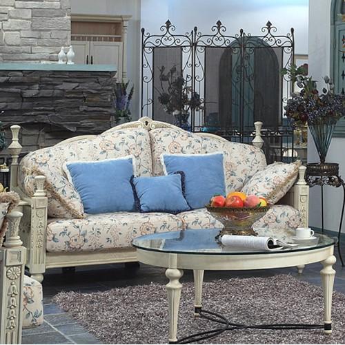 洛可可美式田园家具实木布艺沙发双人位