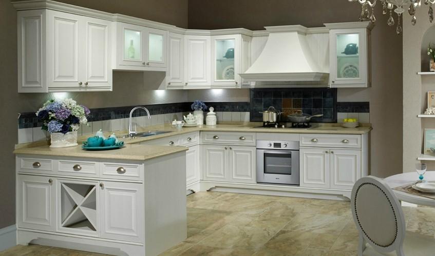 欧派橱柜定制定做厨房橱柜效果图u型田园风格厨柜特兰雪
