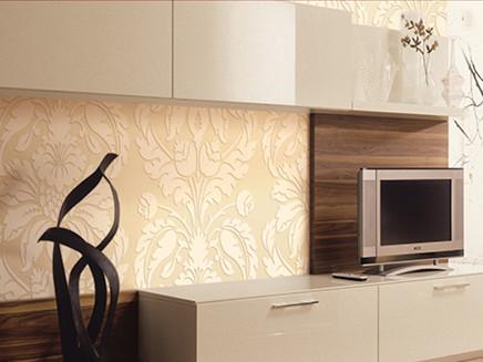 欧雅客厅电视背景墙高端欧式植绒壁纸