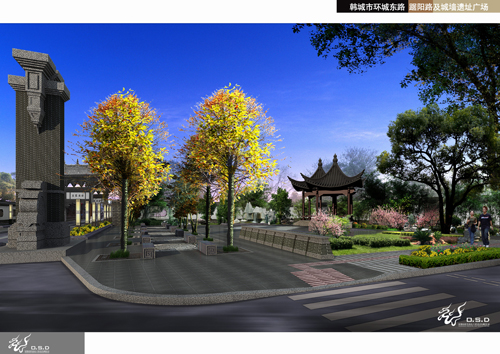 隍庙巷东入口广场效果图