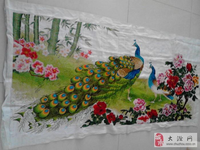 大幅十字绣花开富贵牡丹孔雀图