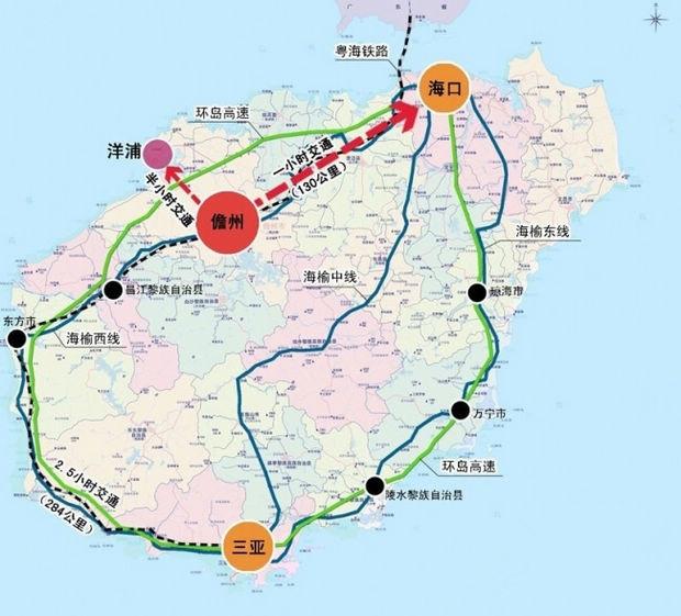 琼海到海南儋州地图