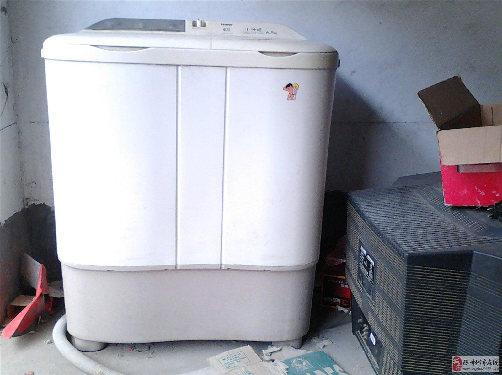 海尔全塑外壳双缸半自动洗衣机;成色新