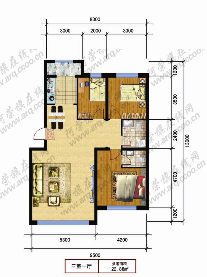 房屋正方形格局设计图展示图片