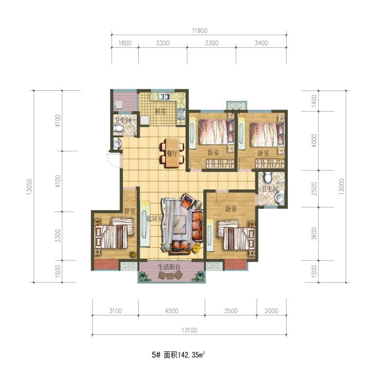 四室一厅一厨一卫户型图150平米怎么布置