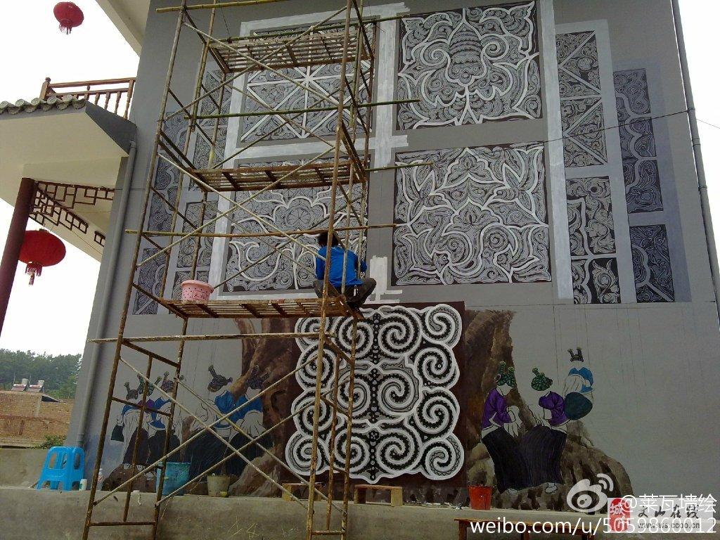 承接墙体壁画雕塑美丽乡村民族文化墙绘