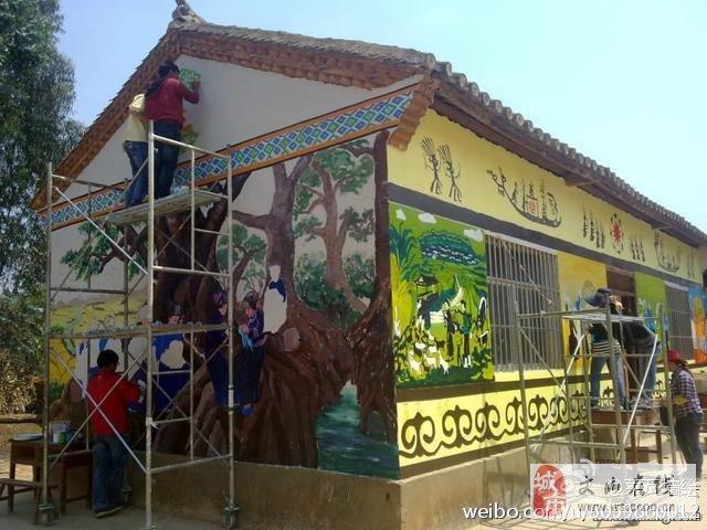 幼儿园民族外墙简单彩绘