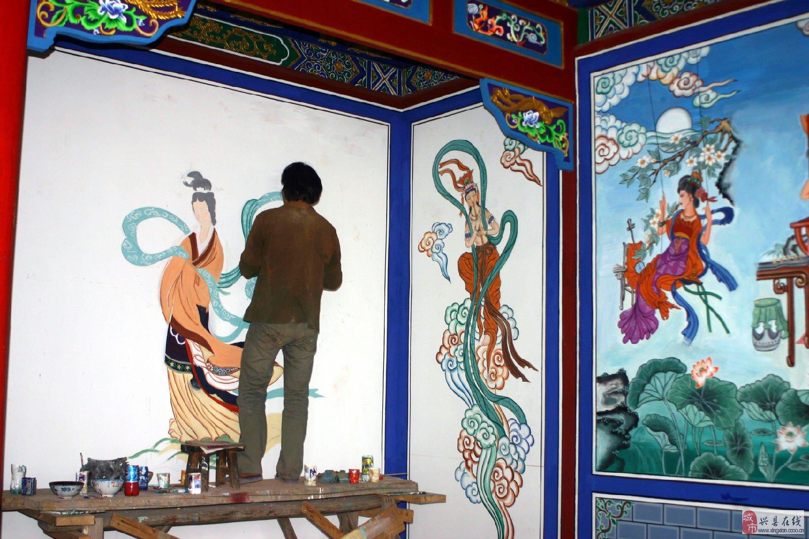 兴县墙绘幼儿园墙绘古建庙宇彩绘家装彩绘