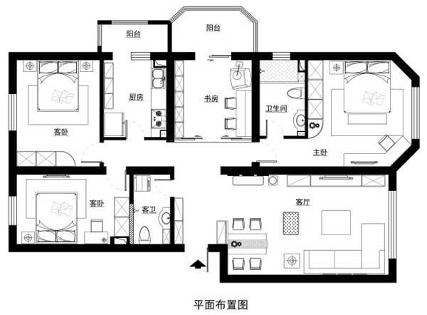 四室一厅装修效果图