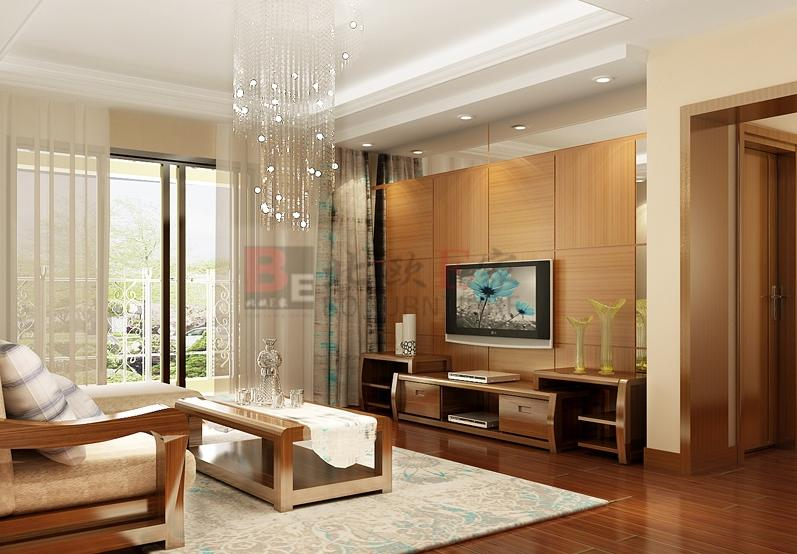 图2 木工装修后的客厅电视柜图片