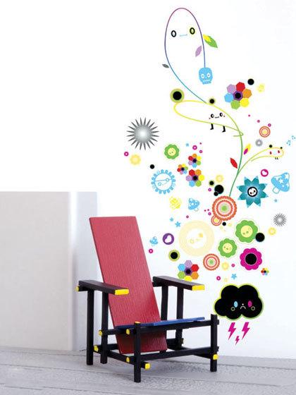 把富有童趣的儿童图案组合在一起,用绚丽的颜色表达出来,也能为你的