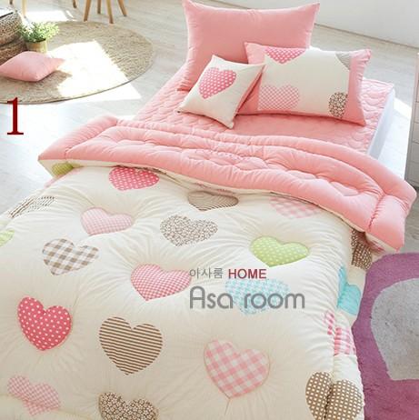 可爱桃心纯棉被子四件套 全棉时尚床单