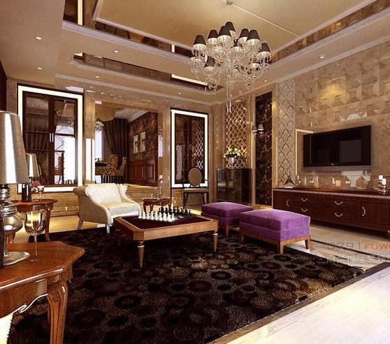 欧式客厅装修效果图 个性吊顶设计吸引眼球