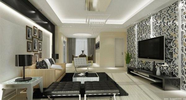 客厅吊顶及电视墙