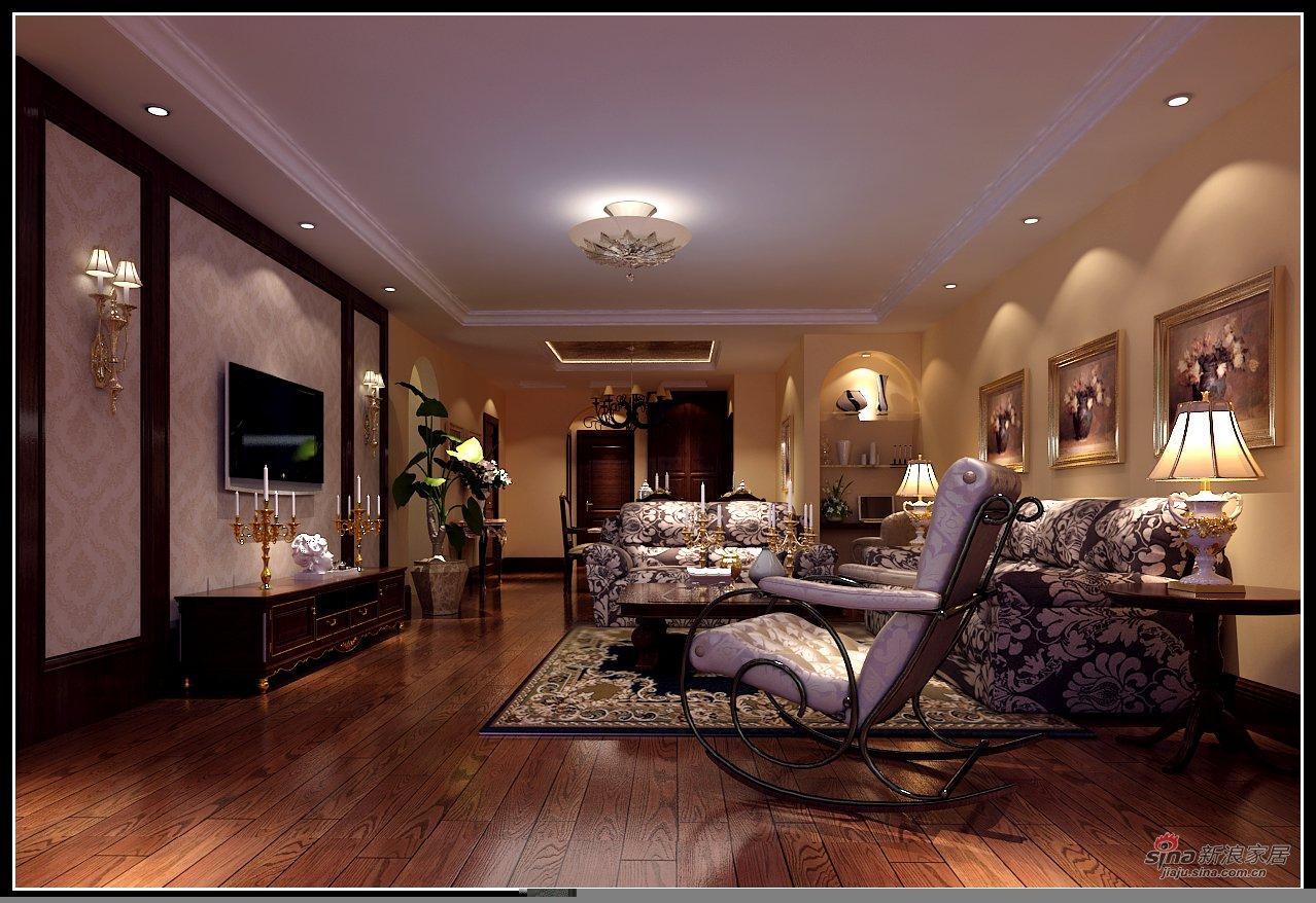 沙发背景墙采用石膏线内贴壁纸的形式