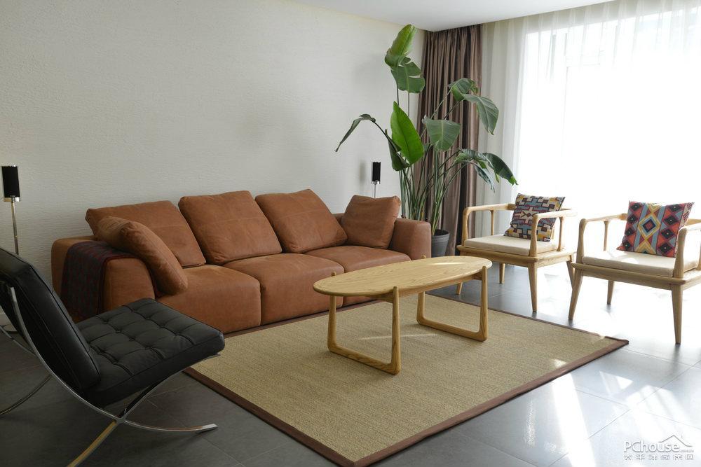 混搭中式风185㎡两室两厅客厅设计效果图