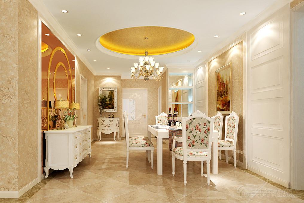 120平欧式风格三居餐厅背景墙装修效果图