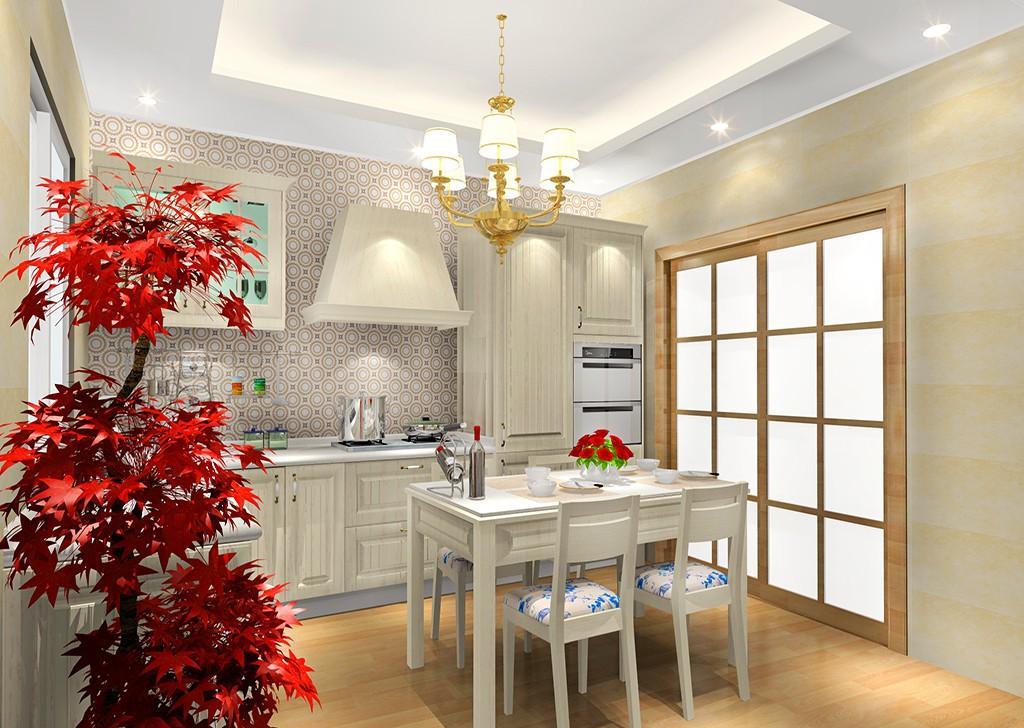 英伦晴风风格厨房,是以简约的新古典风的走向来设计,采用英伦白橡柜体面板,凹凸有致的西式纹理,厨房中间加入餐桌无缝迎合,让餐厅与厨房组合在一起。   1、造型独特:橱柜门板选用PVC木纹吸塑木质感强,表面质地柔软、易清洁,门板造型特别,带有古典风格。 2、收纳强大:高柜的设计让厨房的收纳功能更加的强大,这样就不用担心厨房杂物多所带来的摆放整洁问题了。