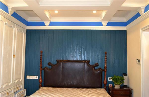 侧卧室:侧卧吊顶蓝白双色硅藻泥吊顶