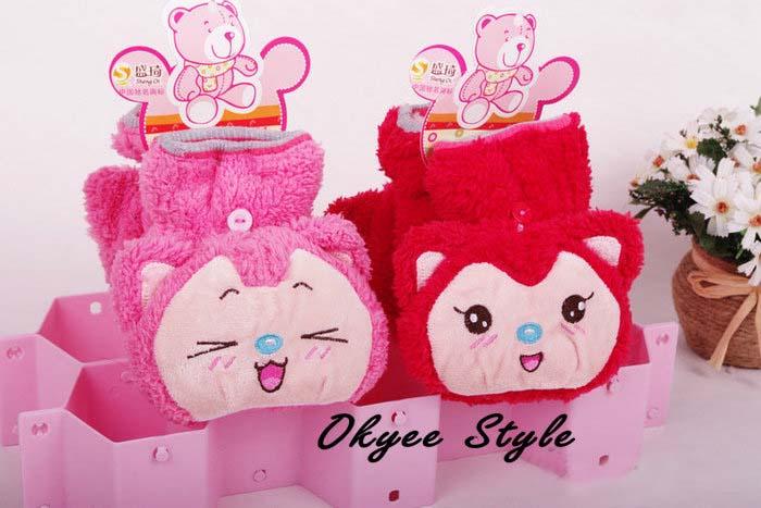 韩版可爱两用魔术毛绒手套 冬季保暖手套