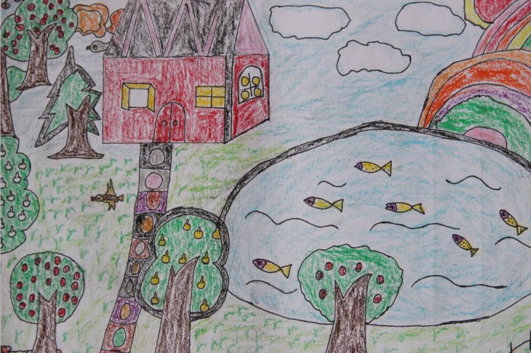 中学生我的家乡美画_画画大全