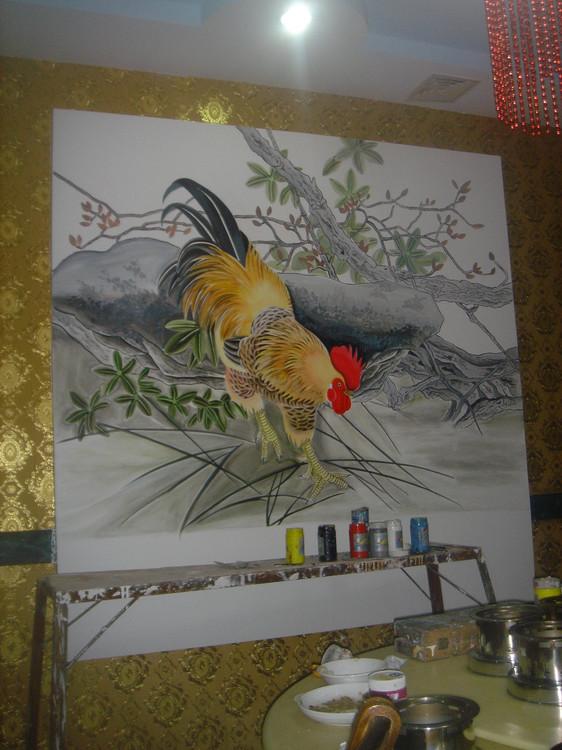 墙面手画动物图片