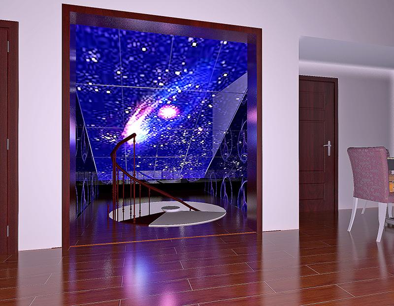 电视背景墙采用暖色大理石材和皮雕与沙发背景的冷