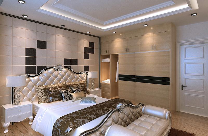 简欧风格,电视背景墙采用暖色大理石材和皮雕与沙发背景的冷色调的